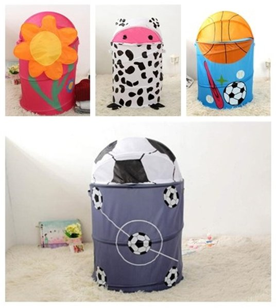 top popular New type large capacity dirty clothes waterproof bucket bedroom clothes storage spring receptacle bucket, save space, shrink savings T3I5002 2019