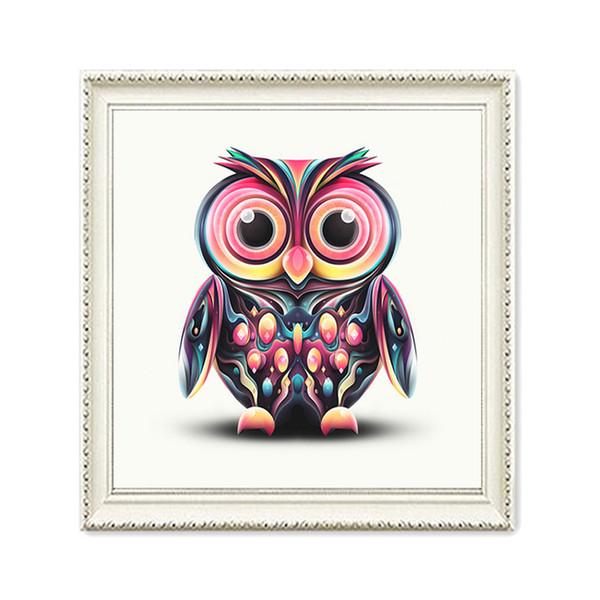 Animal Painted Owl Cartoon Painting DIY 5D Diamond Needle Round Diamond Needle Tool Set Mosaic Decoration