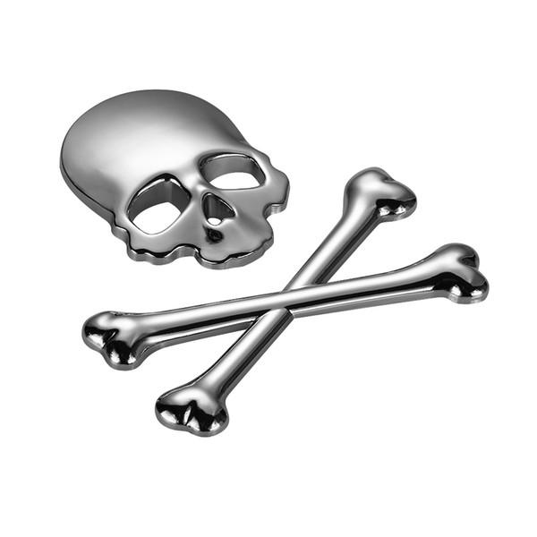 best selling Fashion Designer 3D Skull Metal Skeleton Crossbones Motorcle Car Sticker Truck Label Skull Emblem Badge Car Styling Stickers Accessories
