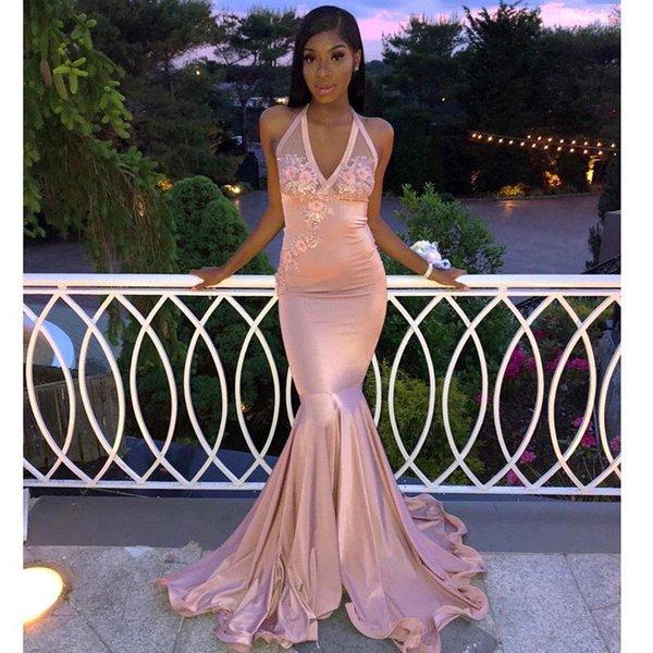 267634bc97d Vintage Pink Mermaid Prom Dresses Deep V Neck Lace Appliqued Formal Party  Evening Dresses Cheap Custom