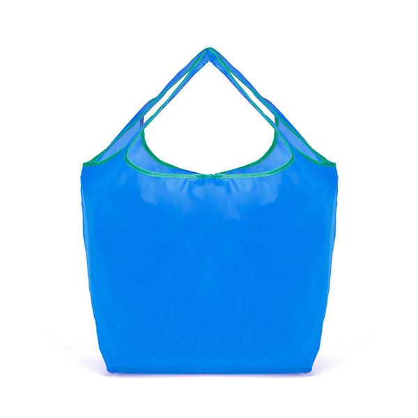 50 PCS / LOT Shopping Sac Pliable Vert Sac de Stockage Environnemental Couleur De Bonbons Réutilisable Voyage Fourre-Tout Pochette Sacs À Main