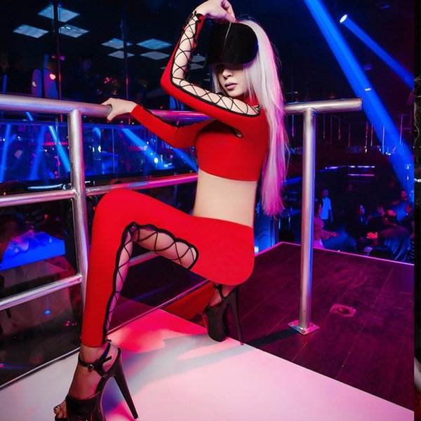 Nightclub DJ Dancer Costume Women'S Jazz Hip Hop Dance Suit Sexy Female Singer Bar Party Performance Clothing Red Set DL3293