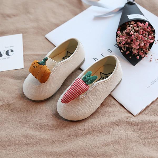 Детская обувь холст девочки с мягким дном дышащая повседневная обувь 2019 осень новая корейская версия учащихся начальной школы милые дикие ти
