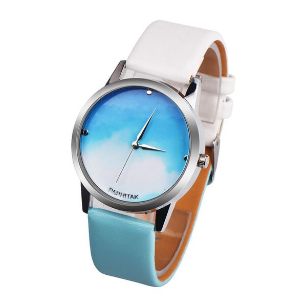 2019 moda blu cielo minimalista donne tempo libero in pelle analogico semplice orologio quadrante orologio da polso relogio feminino # 20