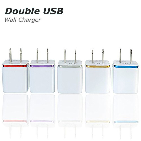 top popular High Quality 5V 2.1 1A Double US AC Travel USB Wall Charger for Samsung Galaxy HTC Cell Phones Adapter 2021