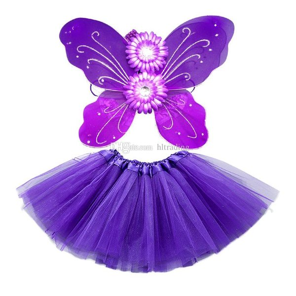 Neugeborenen Tutu Rock Set Baby Schmetterlingsflügel + Blume Stirnband + Spitze Röcke 3cs / Set Mädchen Prinzessin Performance Kostüm Kinder Kleidung 4colors C6409