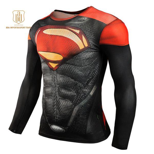 Outdoor Sportswear High Elastic New Batman Round Collar Quick Dry Clothes Men Sports Long Sleeved Sportswear T-shirts