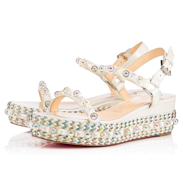 Comfortable Red Bottom Cataconico Wedges Calf Leather Pearls & Studs Ladies Sandals Ankle Strap Buckle Strap High Heels EU35-42