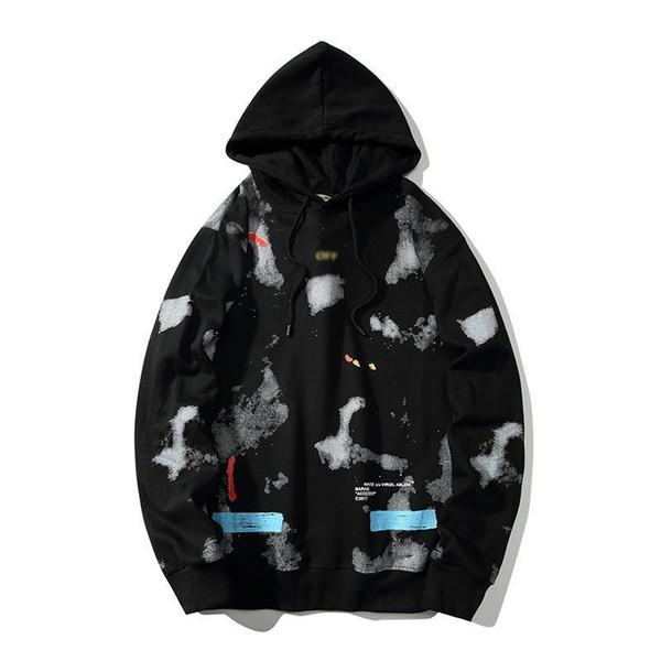 KAPALI marka BEYAZ erkek Grafiti baskı erkeklere gevşek pamuk satış kadın kazak açık vahşi kazak kaliteli lüks çift hoodies kapüşon