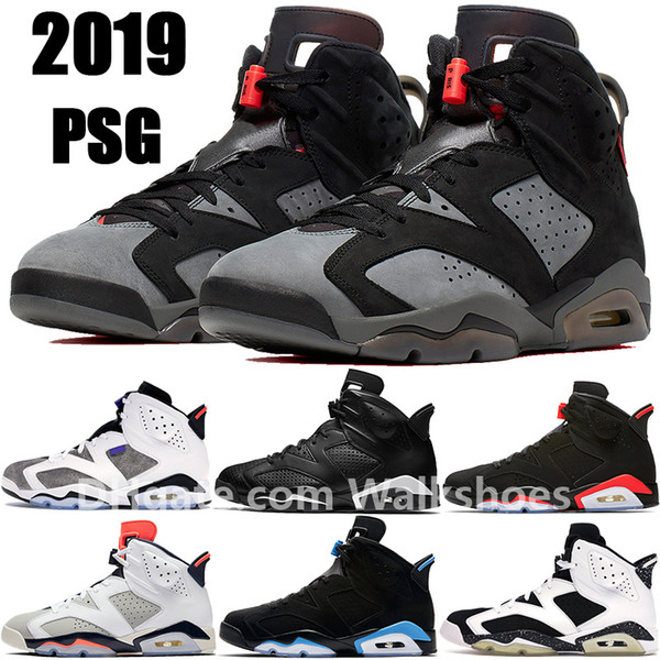 top popular 2019 6 6s PSG Flint Black Infrared Basketball shoes men mens Black Cat Tinker UNC Be Like Mike Oreo Trainers Sneakers Booties 2019