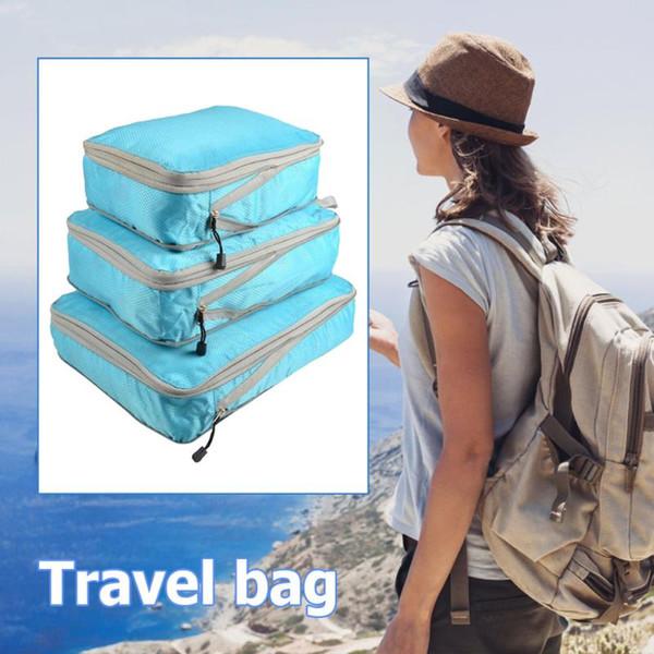 3шт / Set Портативный Путешествия Организатор мешок водонепроницаемый нейлоновый чехол для багажа для одежды Упаковка багажа куб Организатор Чемодан