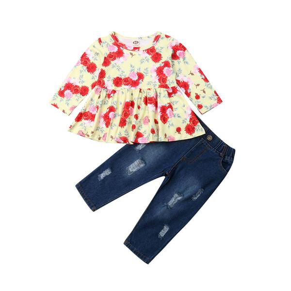 2019 AutumnToddler Kid Bébé Fille Vêtements Fleur À Manches Longues Tops Dress + Jeans Pantalons Jeans 2PCS Tenues Set