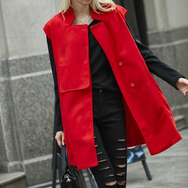 2019 Office Lady Casual Long Vest Donna Elegante Pocket Coat senza maniche Blend Giacche Capispalla Ladies Slim Gilet VKCO1061