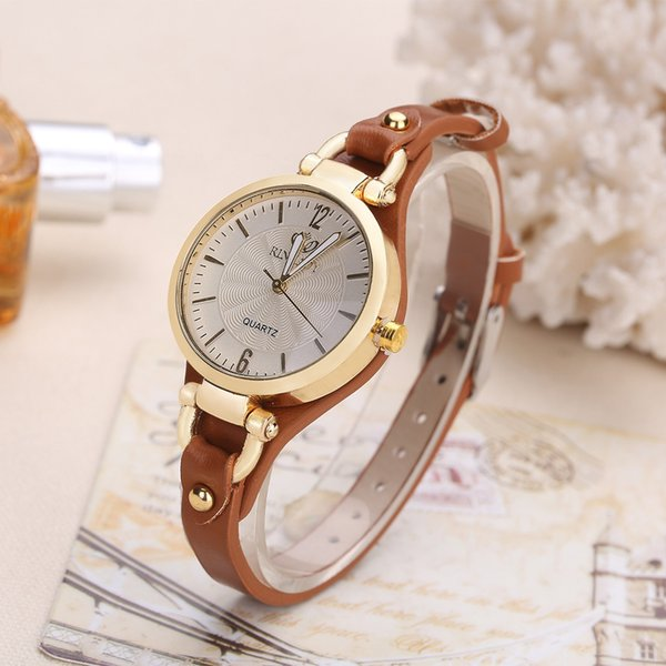 Moda Top Casual Relógio De Quartzo Para As Mulheres Fina Pulseira De Couro Relógios De Pulso De Luxo Ladie Ouro Criativo Relógio De Pulso