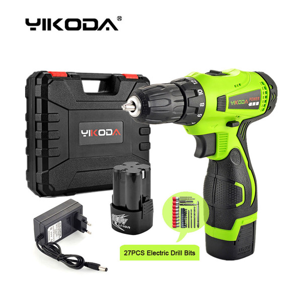 top popular 16.8V Electric Screwdriver Two Lithium Battery Household Cordless Drill Multi-function DIY Power Tools Plastic Case Plus Accessories 2021