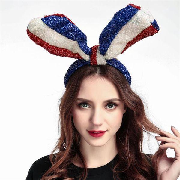 Bleu, blanc et rouge US Drapeau Long Lapin Oreille Grand arc bowknot Brillant Soie Bandeaux Cheveux cerceau pour La Fête De La Fête Faveur 4754