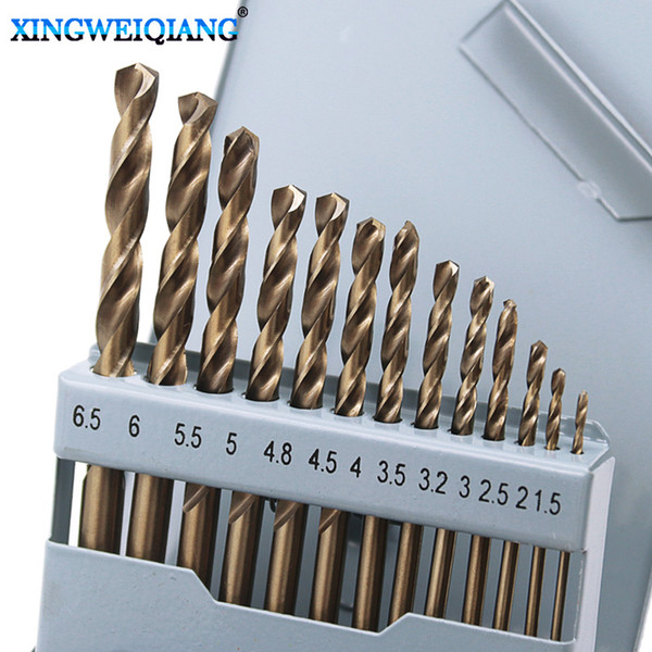 top popular 13pcs Drill Bits sets Metal Steel Straight Shank 1.5-6.5mm Power Tools High Speed Steel Titanium Coated Drill Bit Sets hand tool 2021