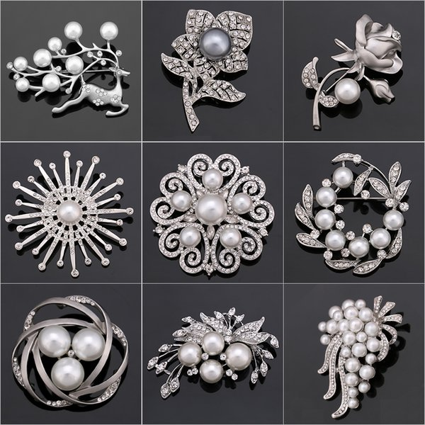 9ee03d718 Factory Direct Sale Crystal Diamante & Imitation Pearl Fashion Flower Leaf  and Deer Brooch Pins for