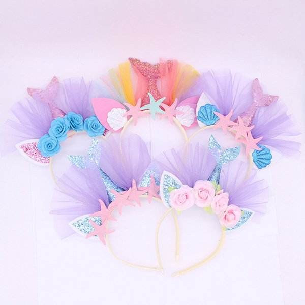 top popular Kids Unicorn Designer Headband Mermaid Baby Headbands Girls Hair Sticks Beach Birthday Party Head Bands Hair Accessories RRA2032 2019