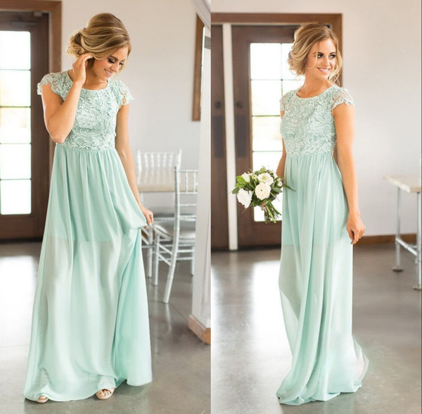b3c02dc948b3 Elegant Cap Sleeves Chiffon Long Country Bridesmaid Dresses 2019 Cap  Sleeves Lace Backless Party Wedding Guest