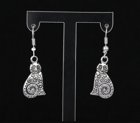 Vintage Silver Cat Acorn Deer Heart Bears Earrings Charms Drop/Dangle Earrings For Women Jewelry Accessories Mixed Style Exquisite Gift
