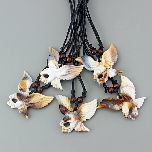 12Pcs Faux Yak Bone Large Eagle Pendant Necklace Black Wax Cotton Cord Surf Necklace Jewellery