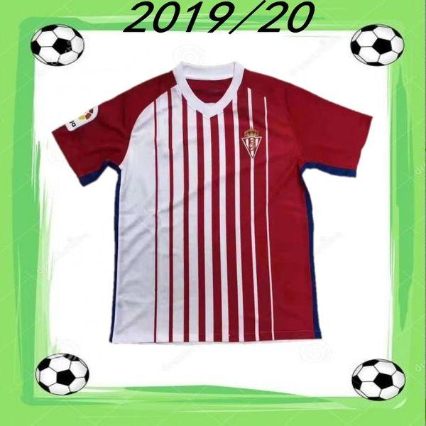 2019/20 Maillot de football de Sporting Gijon 2020 Gijon Maillot de foot à manches courtes Hommes CARMONA COFIE Domicile Uniforme de Football