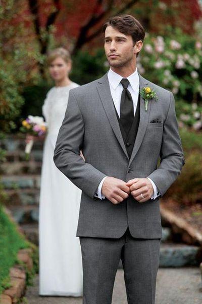 New Grey Slim Fit Trajes de hombre Trajes de novio de boda 2 piezas (chaqueta + pantalón) Novio de novio trajes de novio El mejor hombre de baile vestido Blazer 319