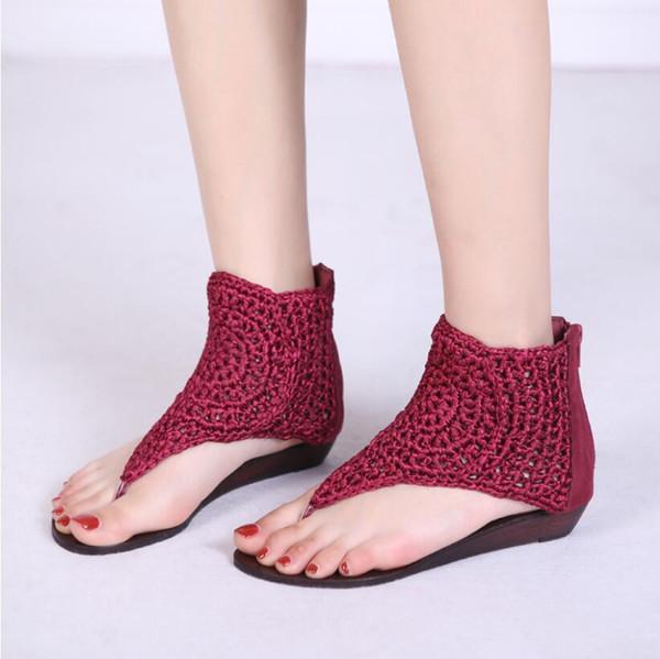 2019 Summer New Slope and Foot Sandal Female Xia Gao Bang Roman Beach Shoes
