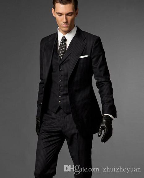 2018 Cheap Slim Fit Black Stripes Groom Tuxedos Notch Lapel Best Man Groomsmen Wear Custom Made Men Wedding Suits (Jacket+Pants+Vest)
