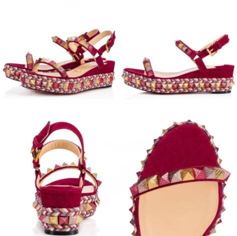 Luxurious Pyraclou 60mm Platfrom Flats Espadrilles Woven Lady Wedges Sandals Ankle Strap Studs Red Bottom Sexy Lady Women Dress Party Weddin