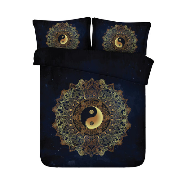 Gold Tree Bohemian Bedding Golden Duvet Cover Mandala Bedspreads Boho 3 Piece Quilt Comforter Cover With 2 Pillow Shams Boys Girls Black Bed