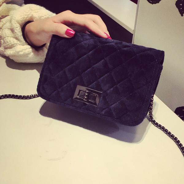 Free shipping, 2019 new handbags, fashion trend messenger bag, single shoulder diamond lattice flap, velvet chain women bag.