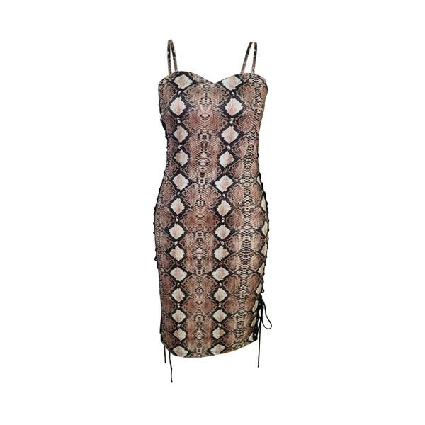 Sexy Women Skinny Dresses Serpentine Print Plaid Dresses Luxury Designer Club Dress Lady Cable Tie Dress