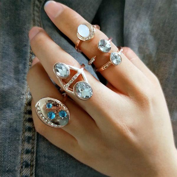 4 Pcs Ring Set New 2019 Bague Femme Hyperbole Open Rings for Women Boho Geometric Crystal Knuckle fine Jewelry Gold Color R138