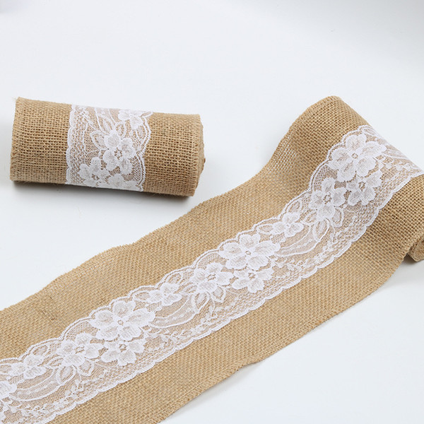 15*240cm Natural Jute Burlap Lace Chair Sashes Jute Chair Tie Bow for Rustic Wedding Decoration WB195