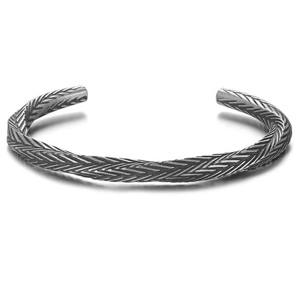Vintage Viking Pattern Bangle Bracelets Bangles for Men Pulseras Hombre Titanium Steel Bracelet Jewelry SS-161