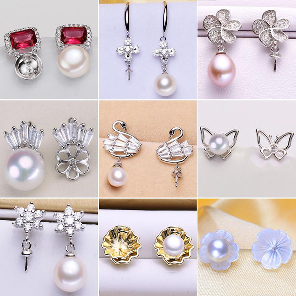 best selling Pearl Stud Earrings Settings Fashion Jewelry 925 Silver Earrings Setting Pearl Earring for Women Mounting Earring Blank DIY Wedding Gift