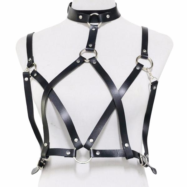 2018 new fashion 2 Color New Arrrive Punk Leather Bondage Straps Bra Body Harness Belt Body Chain Women Body Sexy Toy Jewelry
