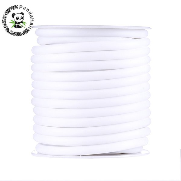 5mm Pandahall Silicone Cord 7Colors Thread Wire For Jewelry Making Hollow Wrapped Around White Plastic Spool Cord About 10m/roll