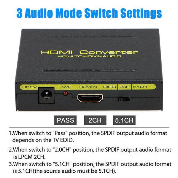HDMI HDMI + SPDIF + RCA L / R Extractor Dönüştürücü Ses Splitter Adaptörü 1080 P AC Güç Adaptörü