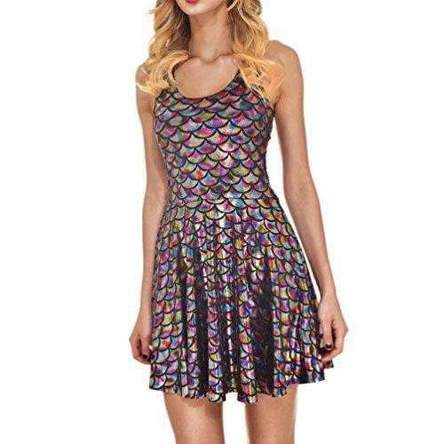 AISKLY Womens Dress a sirena Plus abiti senza maniche a pieghe corta lucido senza maniche