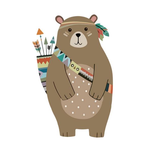Cartoon creative brown bear wall stickers children's room kindergarten living room decoration stickers plus sponge stick