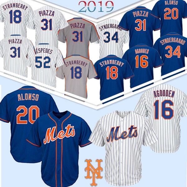 20 Pete Alonso New York Forması Mets 34 Noah 48 Jacob deGrom 16 Dwight Gooden 17 Keith Hernandez 18 Darryl Çilek Formaları