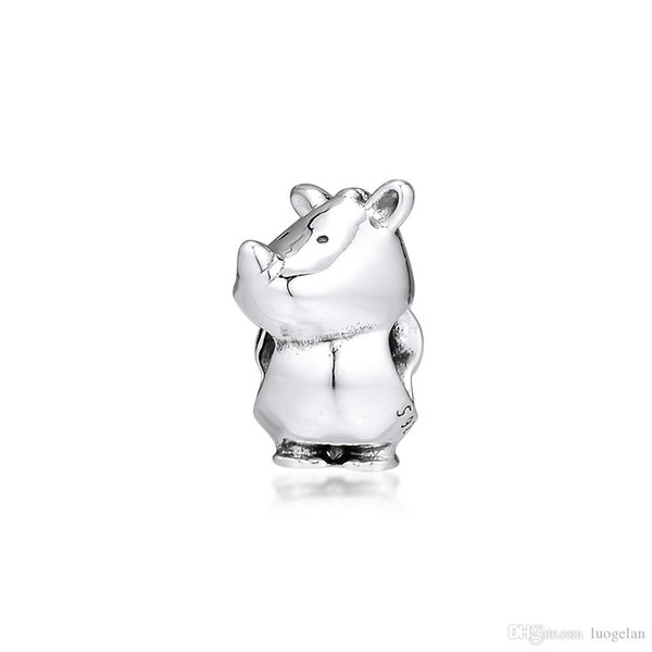 2019 Original Real 925 Sterling Silver Jewelry Rino Rhinoceros Pearl Charm Beads Fits European Pandora Bracelets Necklace for Women Making