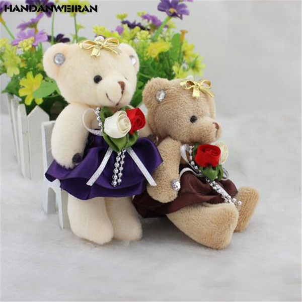 1PCS Cartoon Plush Bouquet Bear Toy Doll Mini Soft Joint Bears Toy Wholesale Small Pendant Birthday Valentine Gift Unisex 12CM
