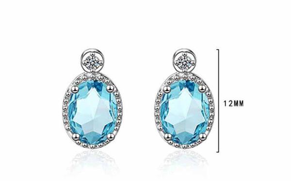 New Fashion Sea blue Stud Earrings 925 Sterling Sliver Jewelry Oval Cubic Zirconia Stud Earrings Wedding for Women