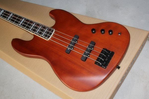Jazz bass four string electric bass matt reddish-brown rosewood fingerboard