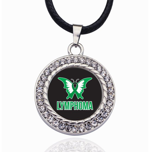 LYMPHOMA SUPPORT AND AWARENESS CIRCLE CHARM Crystal Necklace Heart Pendant Crystals From For Girls Gifts Silver Color Chain Kids Jewelry