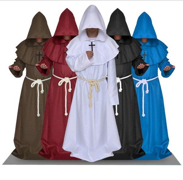Hommes Costumes de créateurs Costumes d'Halloween moines médiévaux Robes Prêtres Eglises chrétiennes Vêtements pour hommes Prêtre Costume